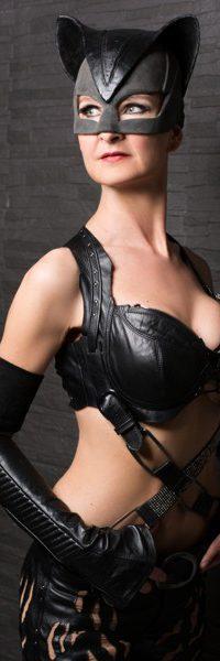 SaxCat Ines Weber im Catwoman-Kostüm